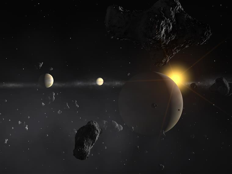 Concepção artística do sistema Mu Arae. Um dos exoplanetas foi descoberto pelo português