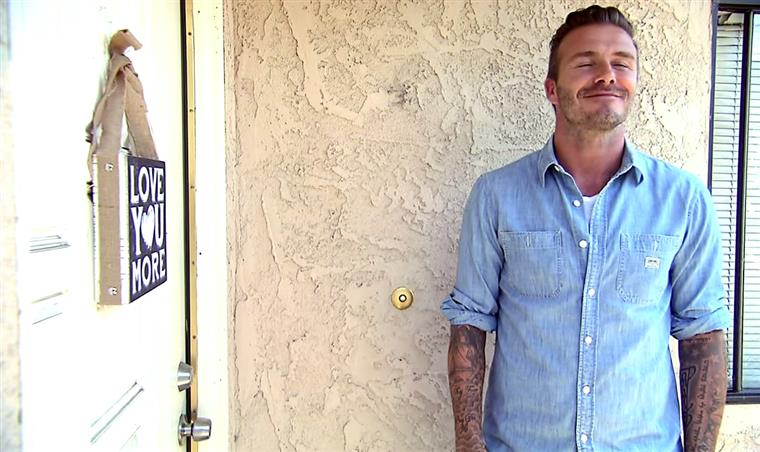 Beckham, momentos depois de ter batido à porta