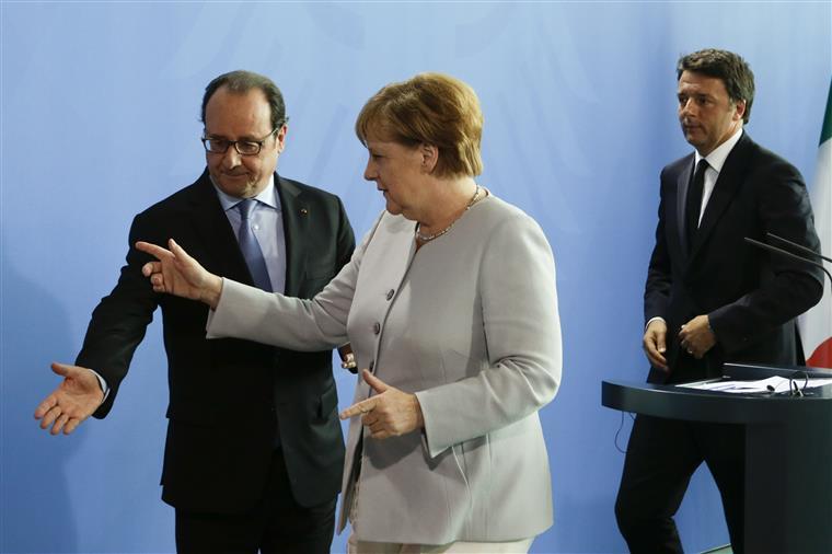 Angela Merkel, François Hollande e Matteo Renzi