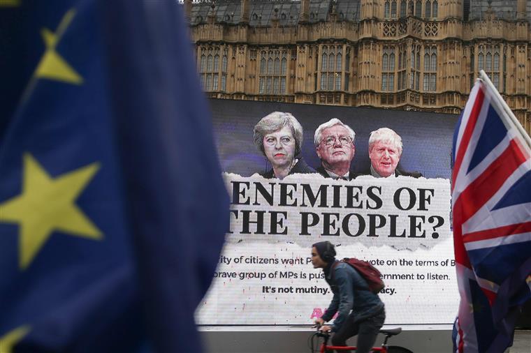 Protesto pró-europeu, esta quarta-feira, em frente a Westminster