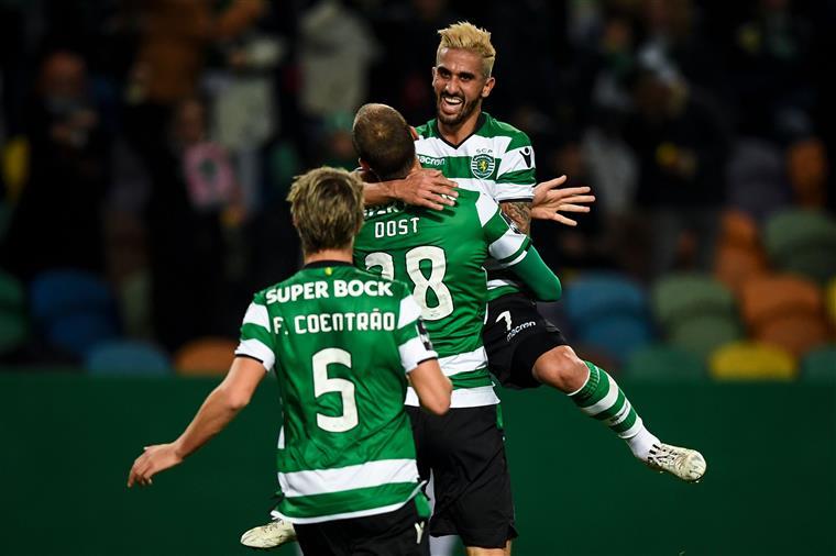 Rúben Ribeiro estreou-se pelos leões e assistiu Bas Dost para o primeiro golo