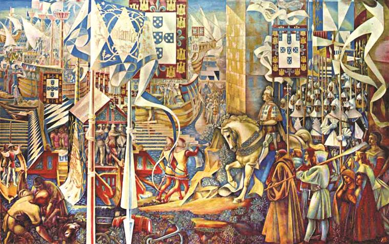 D.João I desembarcando em Ceuta, levando o estandarte bordado a ouro por Dona Filipa de Lencastre