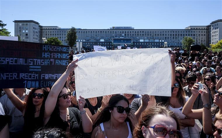 Enfermeiros do IPO em protesto