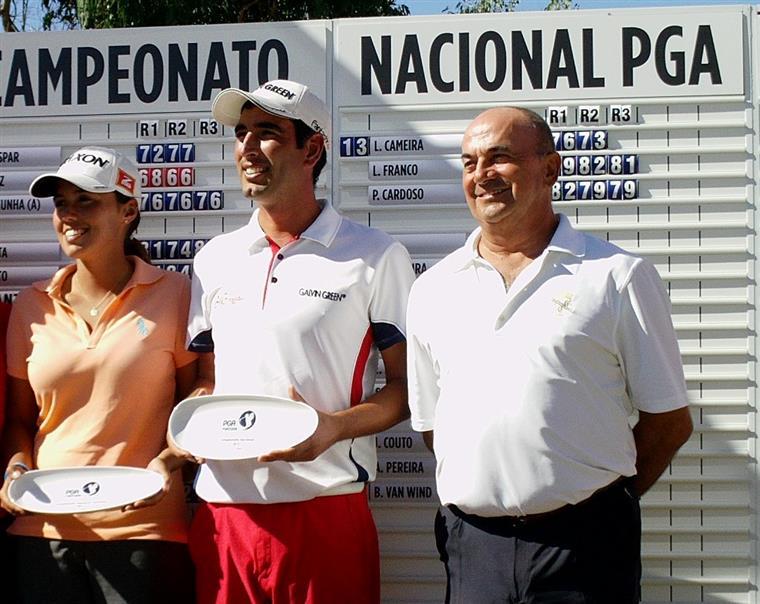 Susana Ribeiro, Tiago Cruz e Manuel Violas, quando ganharam o Campeonato Nacional PGA Solverde de 2015